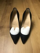 2020 CHRISTIAN LOUBOUTIN PIGALLE BLACK/GLITTER SUEDE LEATHER PUMPS, SIZE 36