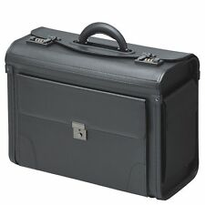 Pilot Case Bag Briefcase  Faux Leather Black Executive Travel Work Flight  38103