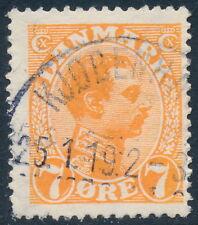 Denmark Scott 98V, 7ø orange Christian X, F+ used with VARIETY