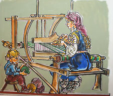 Vintage gouache painting rural portrait woman weaver