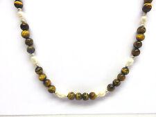 Tigerauge-Süßwasser Perlen Collier 52cm Tigereye Necklace Nr. DK110 Collana