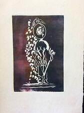 Art contemporain technique mixte jeu de relief sur papier femme anonyme