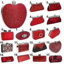 Red Clutch Bag Satin Crystal Beaded Diamante Wedding Races Prom Party Evening