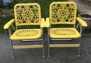 Lot Of 2 Rare Vintage Bernard Industries Co. Lawn Chairs - Yellow - ADORABLE
