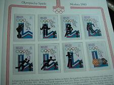 Aus Abo - Olympische Spiele 1980 1 Luxus - SAtz xx BELIZE geschnitten 8 B-werte