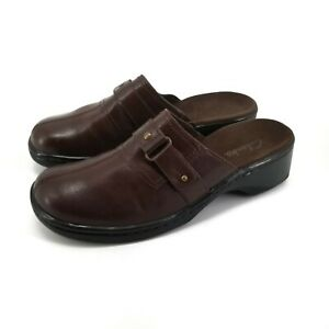 Clarks Slip On Leather Buckle Clogs Mules Brown Comfort Shoes Size 7.5 M