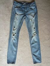 WOMENS AMERICAN EAGLE AEO SUPER STRETCH SOFT DESTROYED SKINNY SLIM JEANS SIZE 2