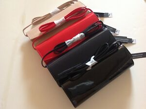 New Dorothy Perkins Navy Black Nude Red Patent Glossy Evening/Club clutch Bag x1