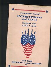 Tenth Ward Republican Organization Rochester NY 1946 Entertainment Dance Program