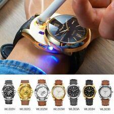 Cigarette Lighter Watch Flameless Windproof Lighter Watch USB Casual Quartz