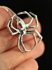 "Solid Sterling Silver Large Spider Pendent and 18"" sterling chain by Marty Magic"
