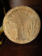 ANTIQUE SHEAF OF WHEAT WOODEN WOOD BUTTER STAMP PRINT mold mould