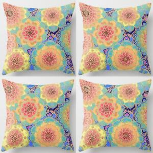 UK 4 PCS NEW 18'' Colorful Floral Super Soft Cotton Cushion Cover Pillow Case