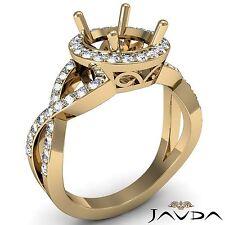 Round Semi Mount 18k Gold Yellow 0.7Ct Diamond Engagement Ring Split-Curve Shank