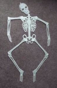 4ft Tall Halloween Plastic Skeleton Jointed Glow in the Dark prop decor
