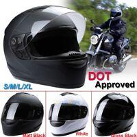 HOT DOT Solid Black Motorcycle Helmet Full Face Scooter Crash Motorbike Street