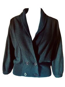 Colorado-Tuxedo Crop Cardigan in Black-Size XS