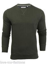 Mens Brave Soul Round Neck Overhead Pullover Jumper Sweatshirt Long Sleeve Shirt Khaki Large