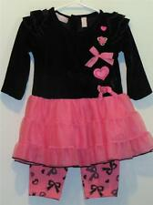 New Baby Headquarters Girl's Black Velvet & Pink Ruffled Dress w/ Leggings 18M