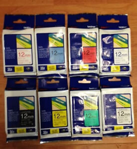 GENUINE  BROTHER P TOUCH TZE TAPES 12mm. x 8m. CHOICE OF COLOURS