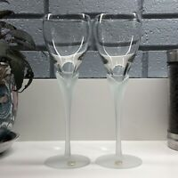 Vintage Lilly Tulip Frosted Crystal Stem Wine Glasses with Labels - Set of 2