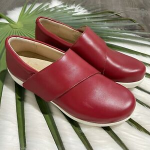 Alegria by PG Lite Womens Slip On Shoes Sz 37 US 7 7.5 TRAQ Qin Red Leather