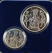 1995 Israel Sheqalim Biblical Art 2 Coin Silver Proof & UNC Set w/ Box & COA