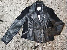 River Island Womens Black Real Leather Suede Hybrid Biker Jacket Gold Zips 12