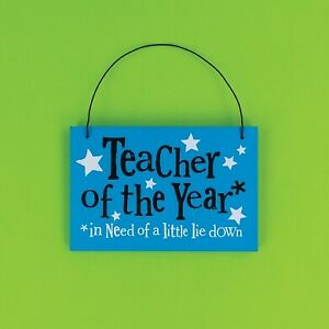 'Teacher of the Year' Hanging Plaque - Teacher Gift - Wooden Sign - Bright Side