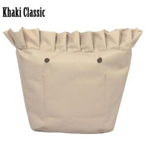 New Frill Pleat Soild Fabric Insert Zipper Pocket for Classic Mini Obag O Bag