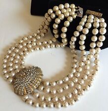 Vintage Miriam Haskell Multi-Strand Necklace~Champagne Pearls/Crystals/Goldtone
