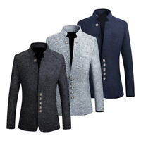 Mens Blazer Style Chinese Tunic Suit Stand Collar Stylish Coat PK84 Fast Ship