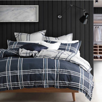 Logan and Mason Charlie Navy Double Queen King Quilt Cover Set