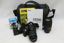 Nikon D5100 16.2MP DSLR Camera with-55mm & 55-300mm DX VR Lenses 5830 Shutter