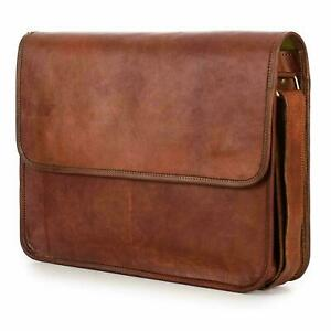Bag Leather Retro Men Laptop Shoulder Messenger S Briefcase Satchel Genuine New