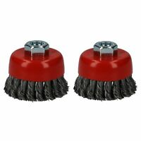 """2pc Professional 80mm Wire Twist Knot Cup Brush for 4-1/2"""" M14 Angle Grinders"""