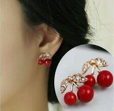 New Fashion Red Cherry Rhinestone Crystal Stud Earrings Women Jewelry Gift