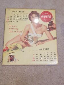 "Rare Vintage 1957 Coca Cola Coke Wall Calendar Page July/August 17""X15"""