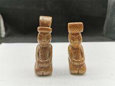 Chinese fine jade kneeling figure motif jade statue one pair