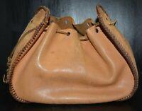 vtg worn leather pouch or bag Reenactment Medieval Renaissance