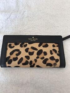Kate Spade genuine Black Leather and Leopard print pony clutch/purse Wallet