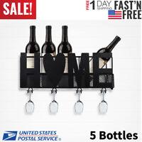 Metal Wall Mount 5 Bottle Wine Goblet Glass Rack Holder Storage Shelf Bar Decor