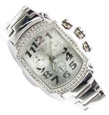 Playaz * reloj * watch * lupah * Metal * Chrono look * bling * plata * gross * cristal * Iced Out