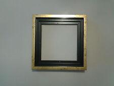 Encadrement Caisse américaine en bois , Satinée Noire et Dorée ,Format carré
