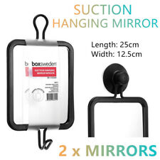 2x Strong Suction Hanging Mirror 25x12cm Metal Hook Room Wall Shower Bathroom