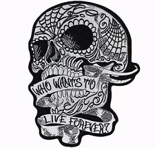 Sugar Skull Live Forever Large Motorcycle Jacket Back Patch 9""