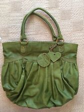 Vintage Olive Green Purse With Removable Peace Sign And Heart Tote Shoulder Bag