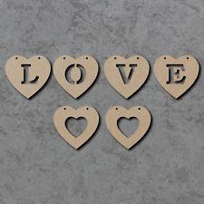 Matrimonio in Legno Amore Cuore Bunting con cuori 2-Laser Cut Forme MDF Craft