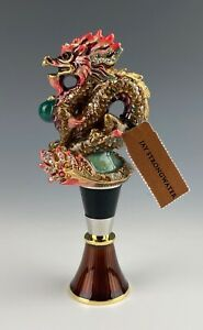 JAY STRONGWATER DRAGON WINE STOPPER & BASE MINT IN BOX!!