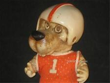 "8"" 1977 CREATIVE MFG INC MOLDED DOG BANK TROLL W/FOOTBALL HELMET ON! CUTE!  V902"